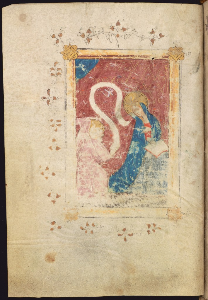Full-page miniature of the Annunciation, before the beginning of the Hours of the Virgin, MS Ff.6.8, f. 23v