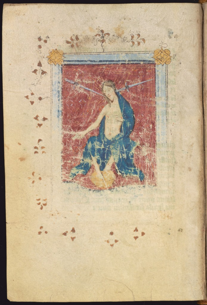 Full-page framed miniature of the Last Judgement, before the beginning of the Penitential Psalms, MS Ff.6.8, f. 98v