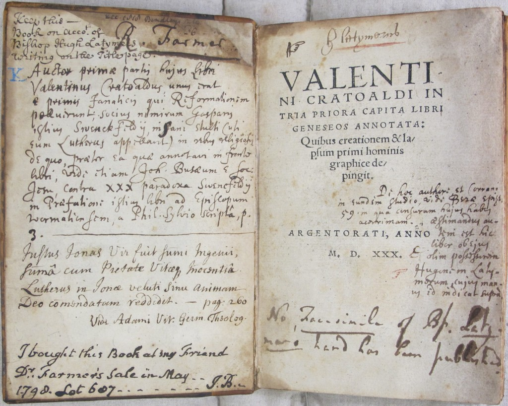 Latimer's inscription to the head of the title page, with Richard Farmer's annotations below (SSS.53.2)