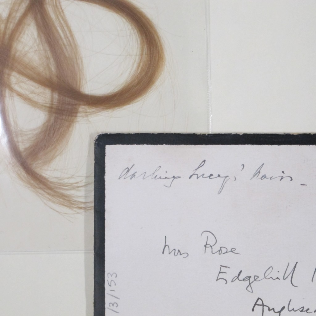 A lock of Lucy Rose's hair sent to her grandmother