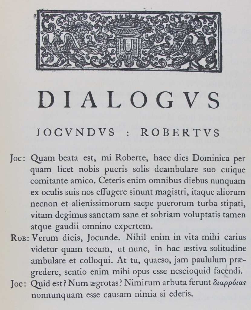 First page of Bainbrigge's Dialogus (London, 1926), Arc.b.92.25