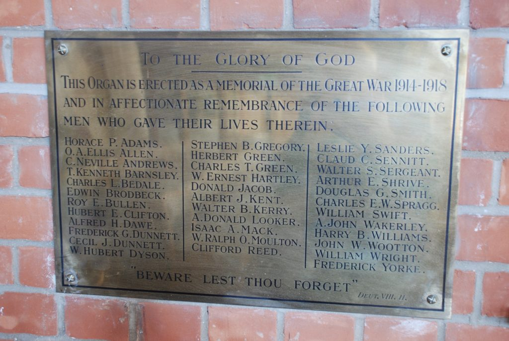First World War memorial in Wesley Methodist Church, Cambridge