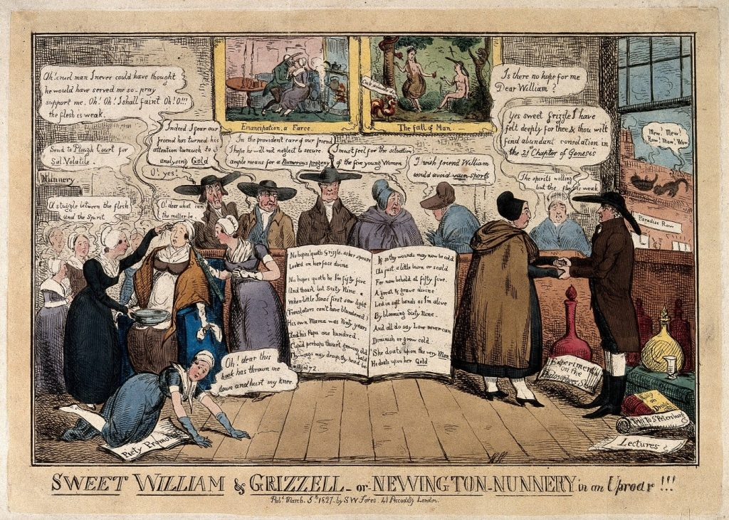 Sweet William & Grizell-or-Newington nunnery in an uproar!!! By Isaac Robert Cruikshank, 1827 Wellcome Collection
